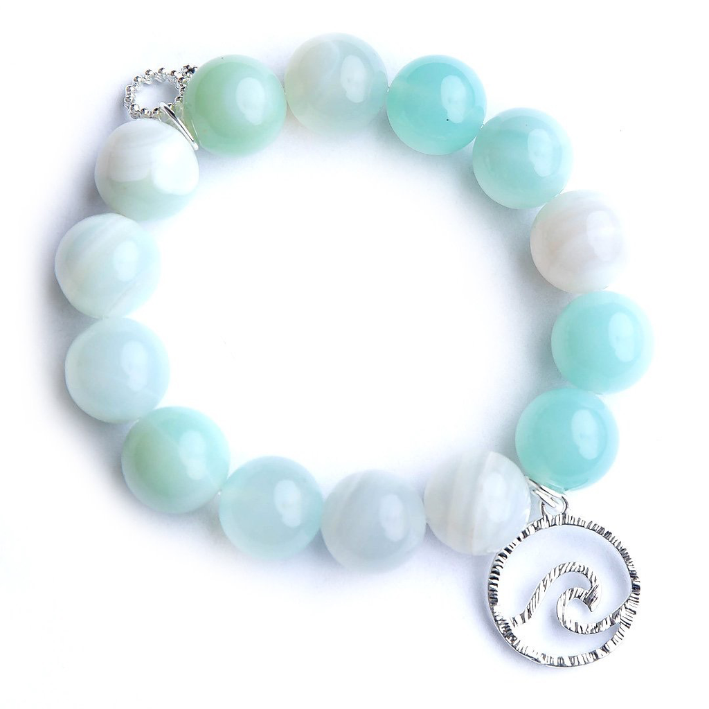 Caribbean Agate Paired with a Silver Wave