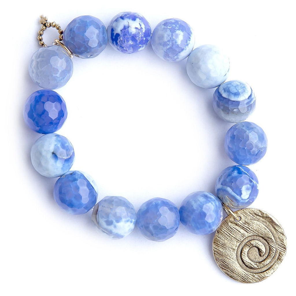 Periwinkle Agate Paired with a Bronze Hammered Wave
