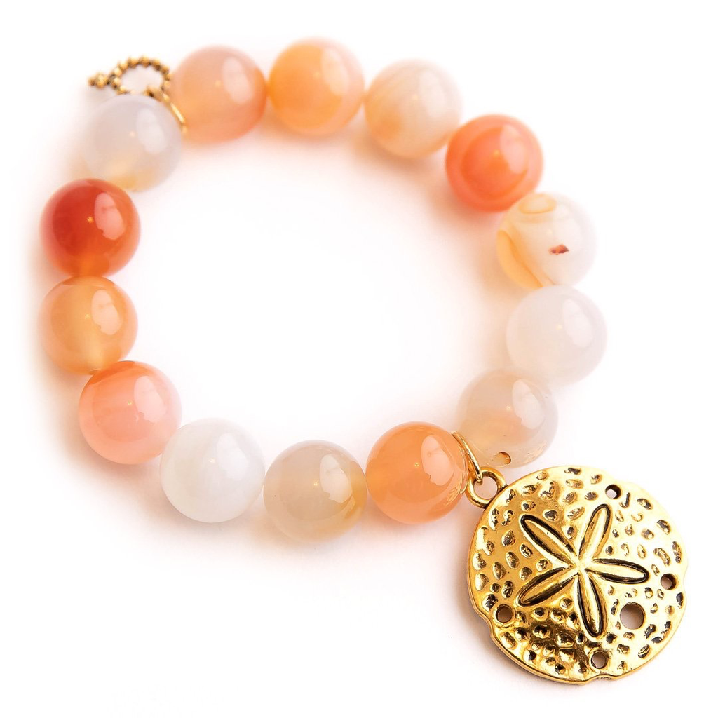 PowerBeads by Jen PowerBeads by Jen Bermuda Agate Paired with a Large Brass Sand Dollar