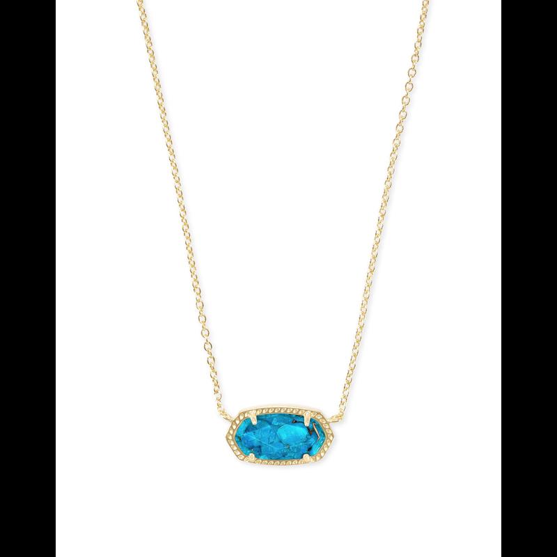 Kendra Scott Elisa Necklace in Gold Bronze Veined Turquoise
