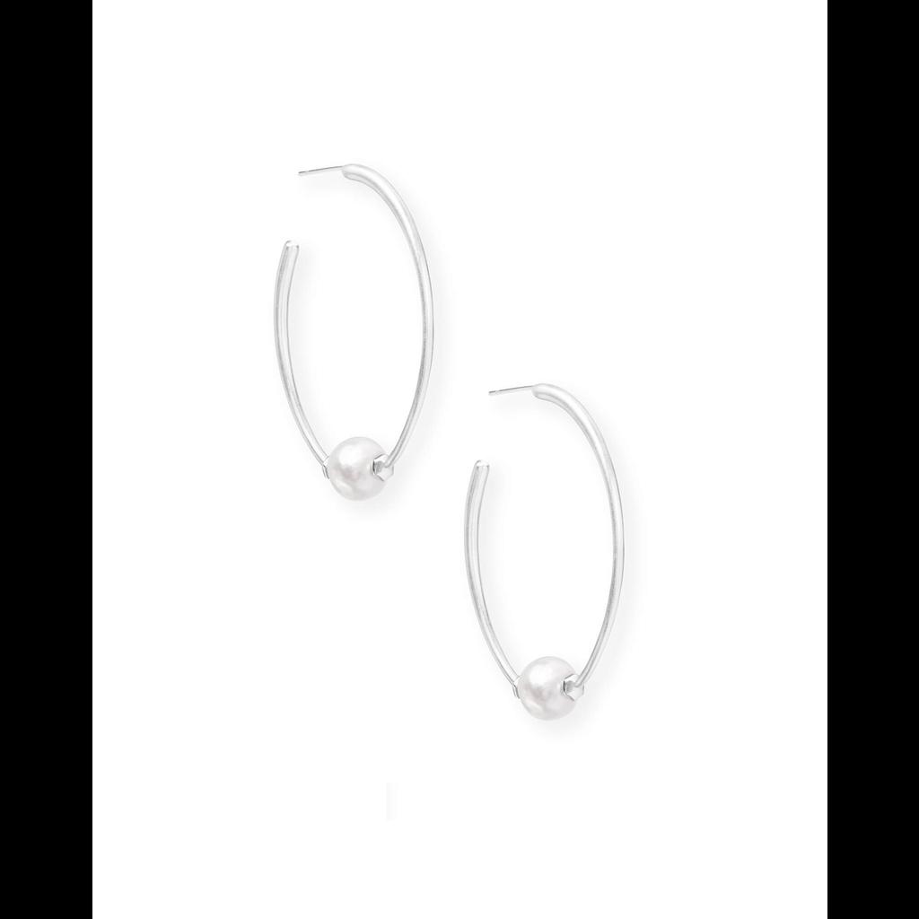 Kendra Scott Kendra Scott Regina Bright Silver Hoop Earrings In Pearl