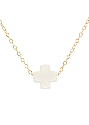 Jewelry White Signature Cross Necklace