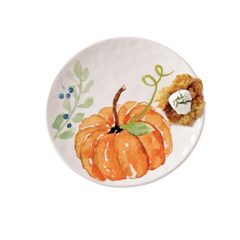 Mud Pie Large Orange Pumpkin Plate
