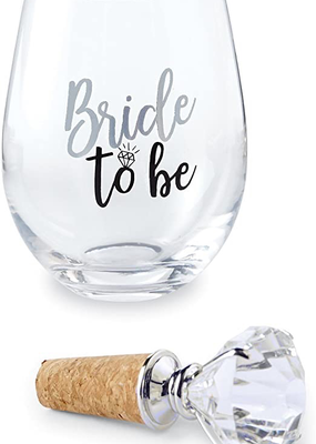 Mud Pie Bride to Be Wine Glass
