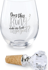 Mud Pie Does This Ring Make Me Wine Glass