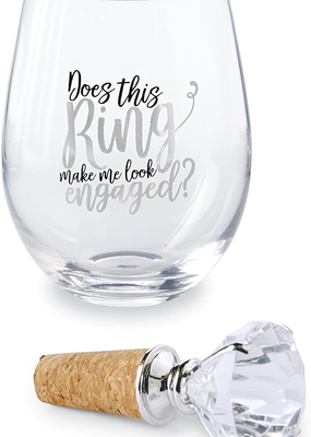Mud Pie This Ring Make Me Wine Glass