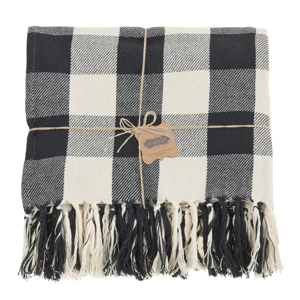 Mud Pie Black & White Checkered Blanket