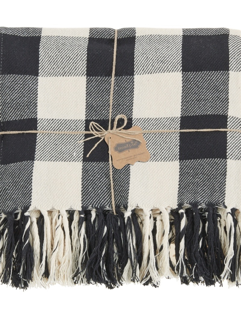 Mud Pie Black & White Checkered Blanket
