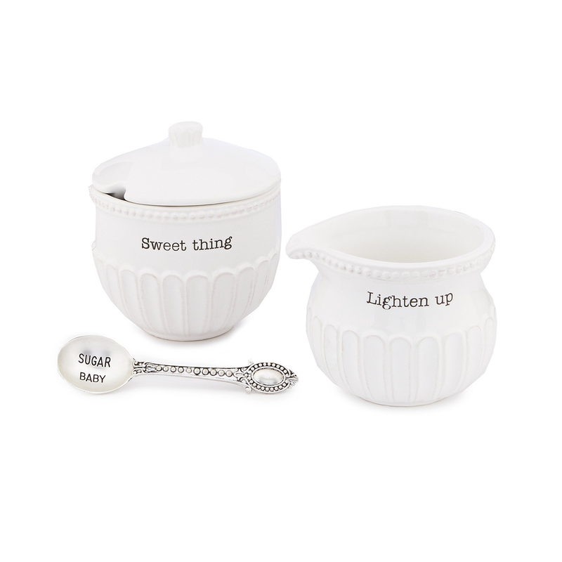 Mud Pie Fluted Cream & Sugar Set