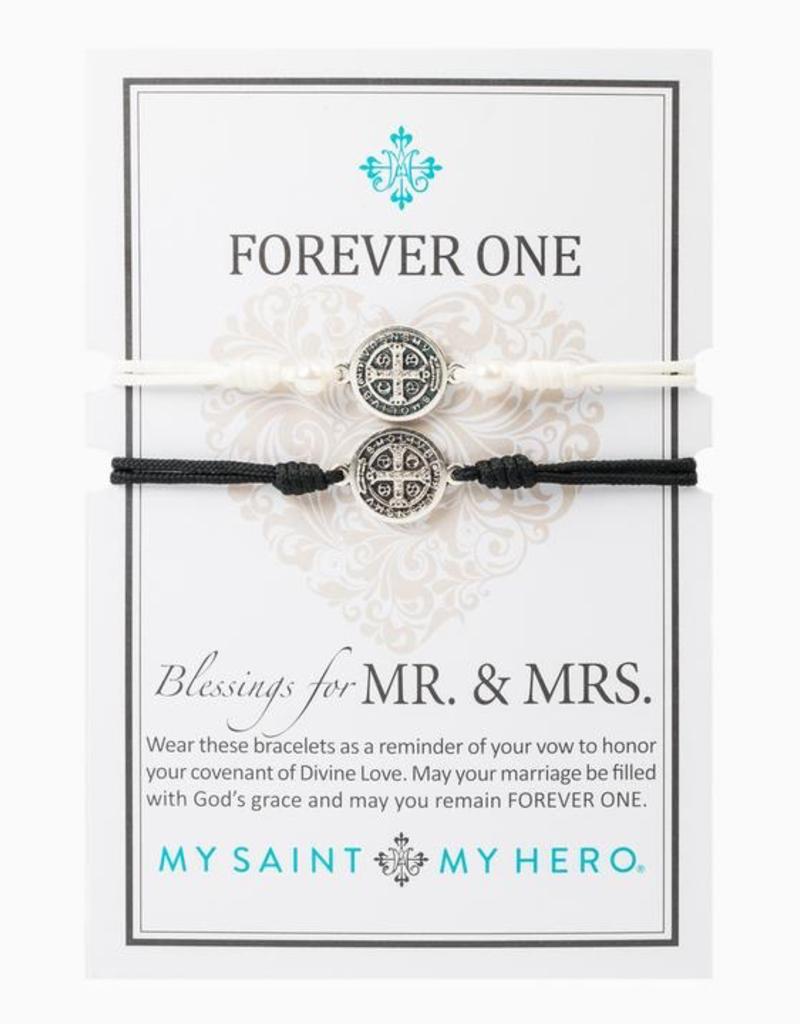 My Saint My Hero - Forever One - Mr. & Mrs. Blessings Bracelets - Black/Silver