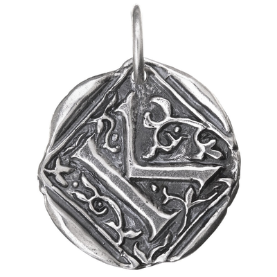 Waxing Poetic Waxing Poetic Square Insignia Charm- Silver- Letter K