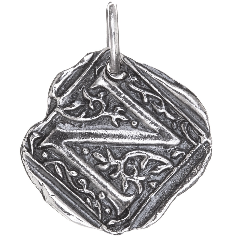 Waxing Poetic Waxing Poetic Square Insignia Charm- Silver- Letter N