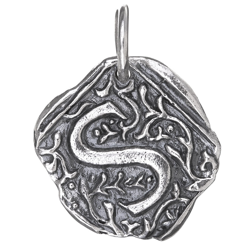 Waxing Poetic Waxing Poetic Square Insignia Charm- Silver- Letter S
