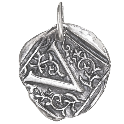Waxing Poetic Waxing Poetic Square Insignia Charm- Silver- Letter V