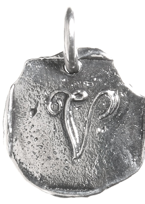 Waxing Poetic Waxing Poetic Baby Insignia Charm- Silver- Letter V