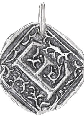 Waxing Poetic Waxing Poetic Square Insignia Charm- Silver- Letter E