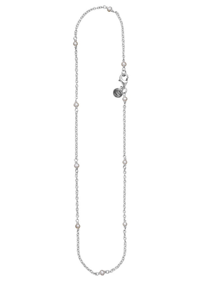 """Waxing Poetic Waxing Poetic Thin Rolo with Pearl Beads Chain - Silver - 18"""""""