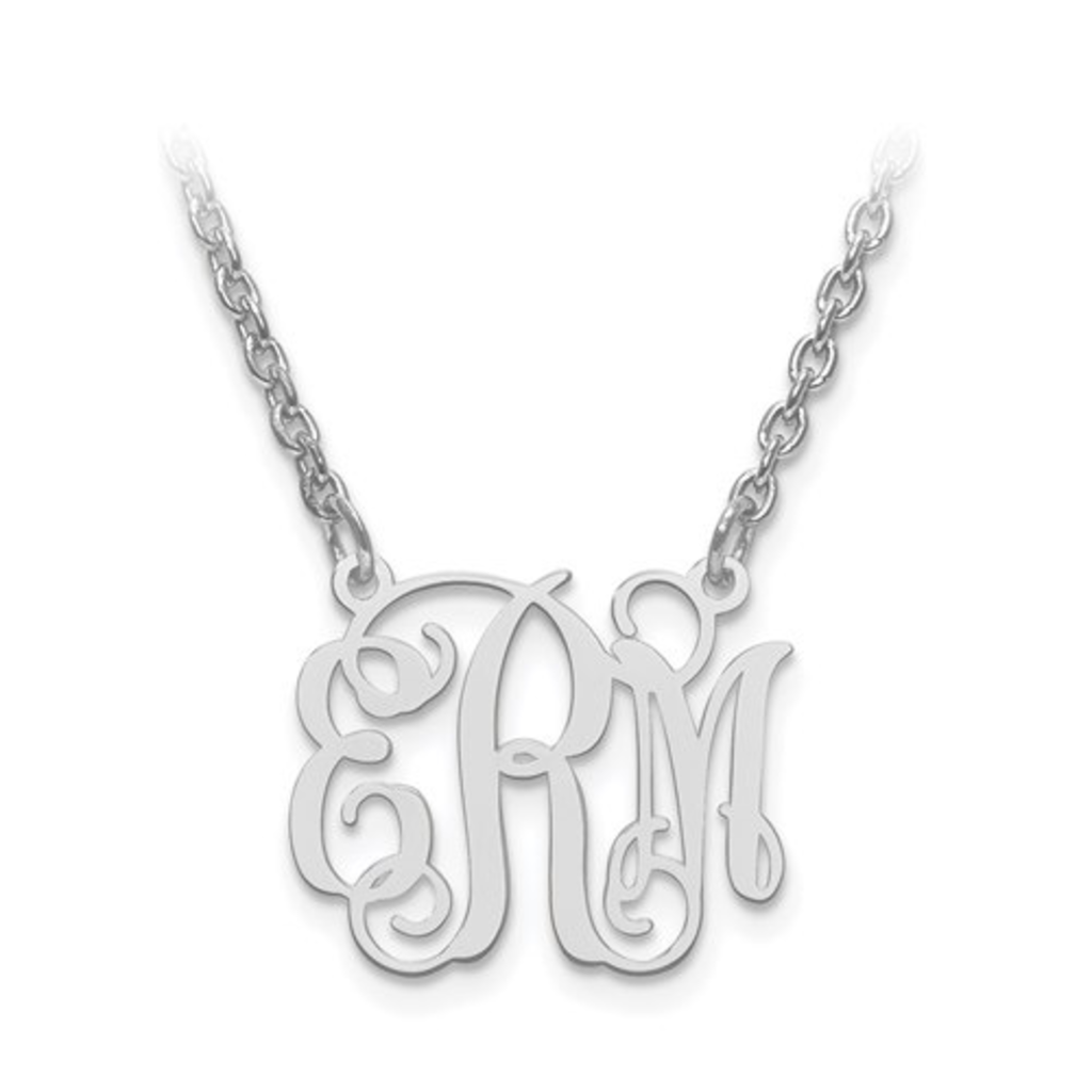 Sterling Silver High Polish Monogram Necklace (5/8)