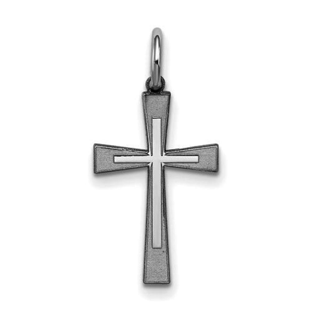 Sterling Silver Rhodium-Plated Laser Designed Cross