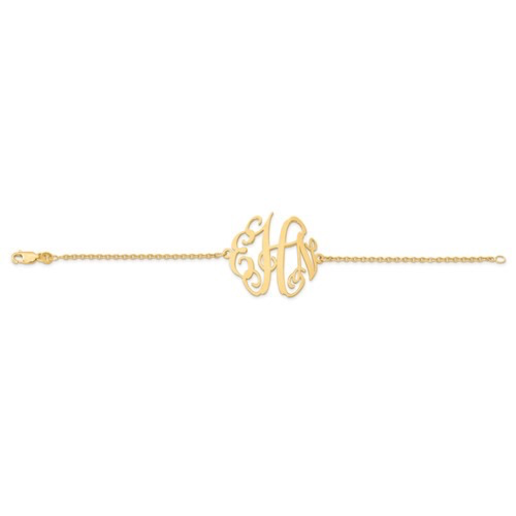 Gold Plated/Sterling Silver Personalized Polished Monogram Plate with Chain Bracelet