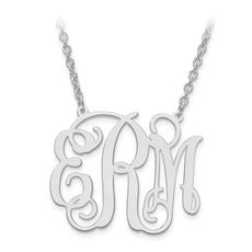 "Sterling Silver High Polish Monogram Necklace/Medium (1.25"")"