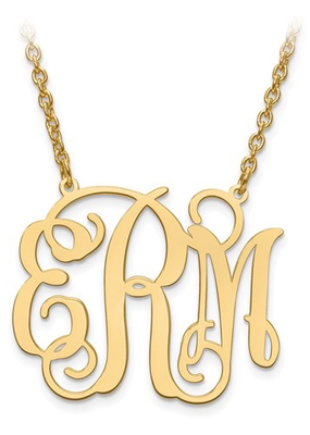 "Gold Plated/Sterling Silver Monogram Necklace (1.25"")"