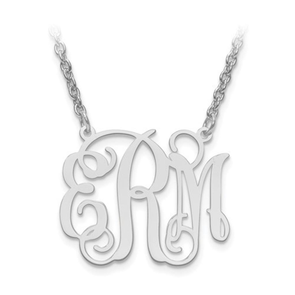 "Sterling Silver High Polish Monogram Necklace (7/8"")"