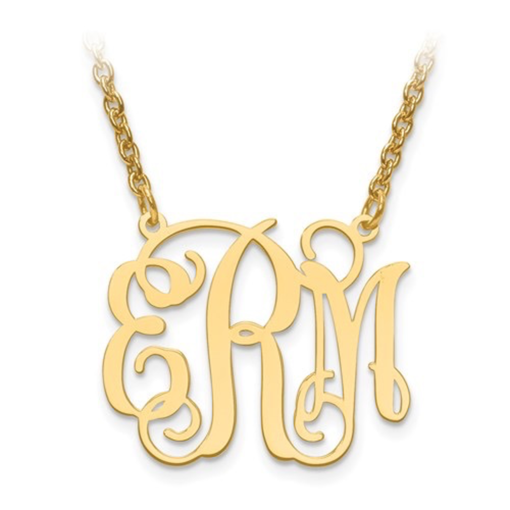 Gold Plated/Sterling Silver Monogram Necklace (7/8