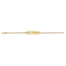 Gold Plated/Sterling Silver Couple's Initials and Date Antiqued Bar Bracelet