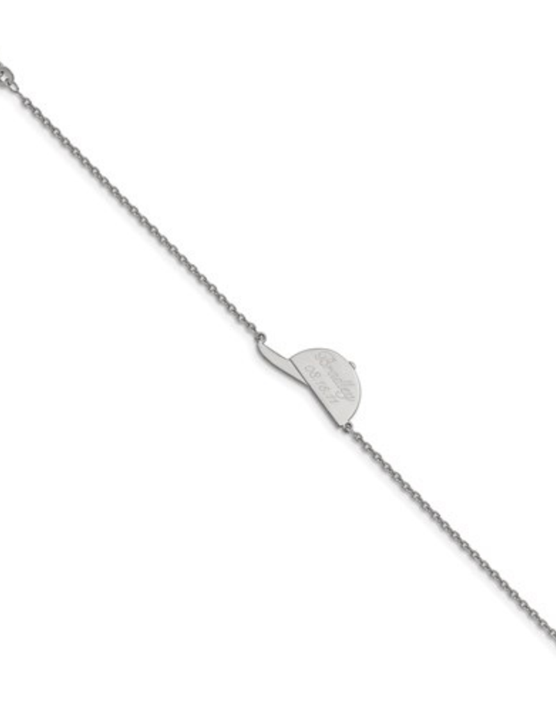 Sterling Silver Personalized Ballcap 7.5 Bracelet
