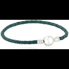 Chamilia Chamilia Medium Braided Teal Leather Bracelet with Round Snap Closure