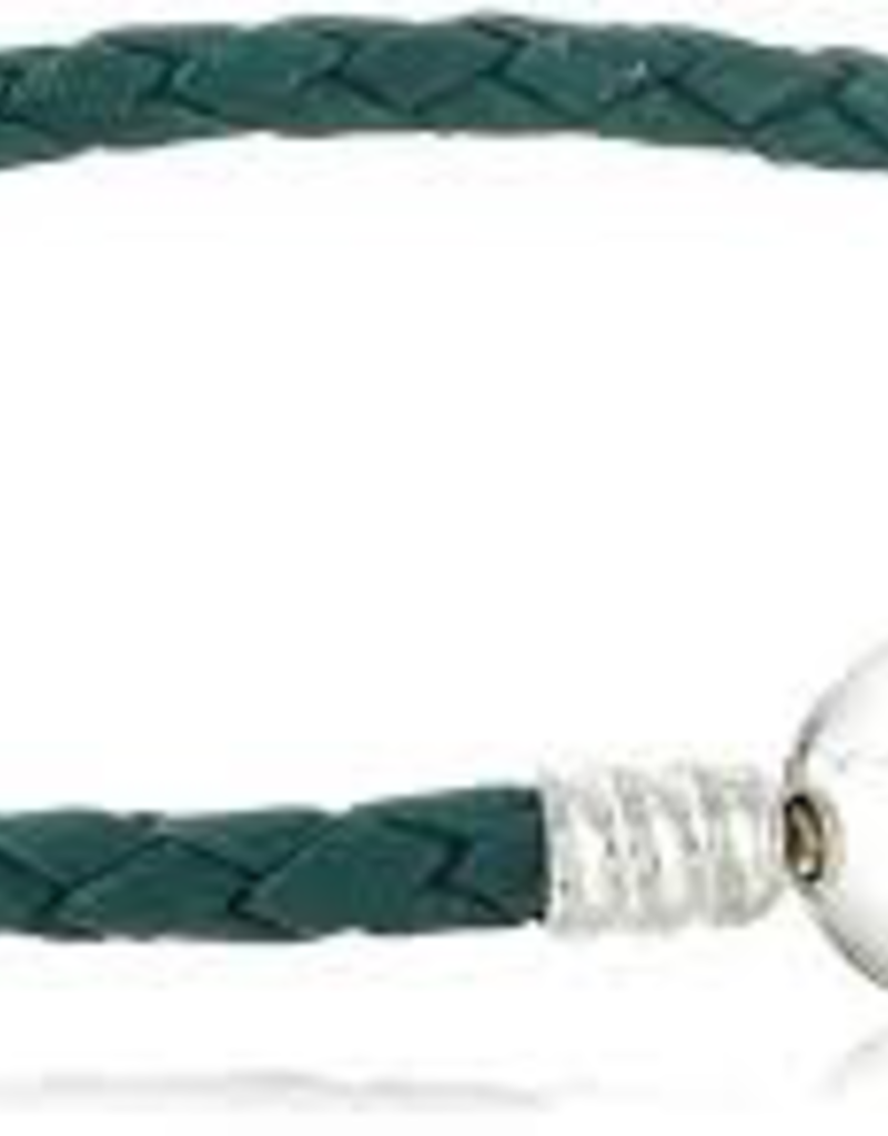 Chamilia Medium Braided Teal Leather Bracelet with Round Snap Closure