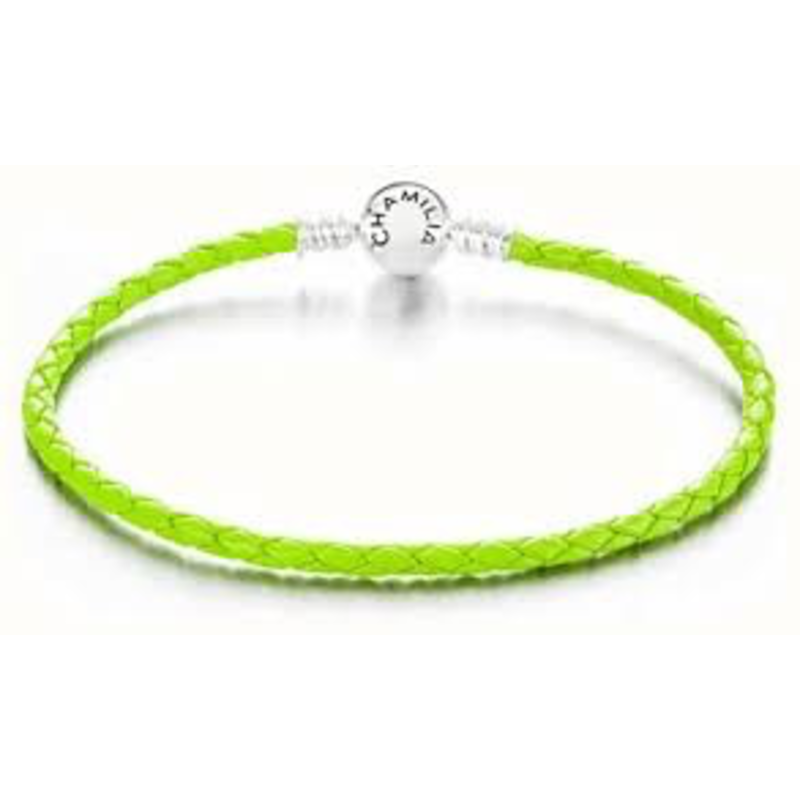 Chamilia Chamilia Small Braided Green Leather Bracelet with Round Snap Closure