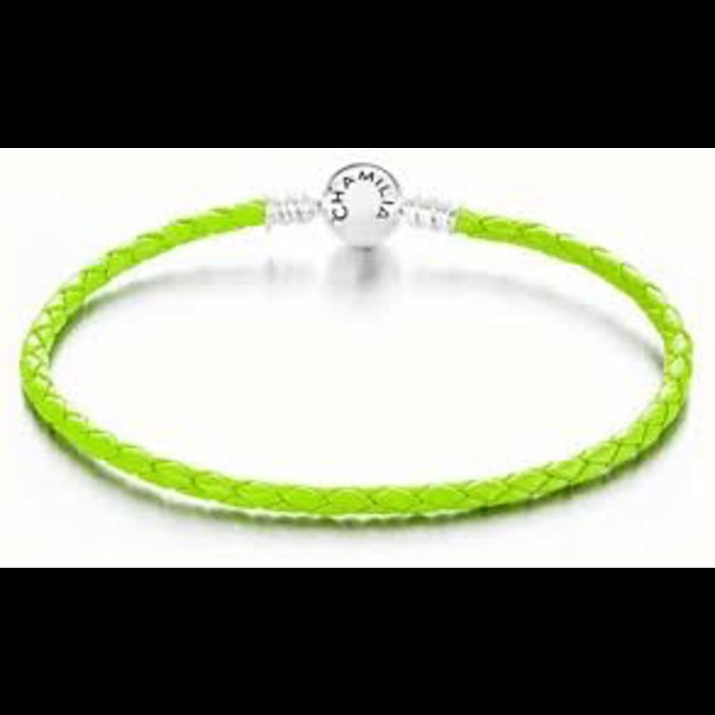 Chamilia Chamilia Medium Braided Green Leather Bracelet with Round Snap Closure