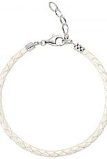 Chamilia One Size White Metallic Braided Leather Bracelet Disc