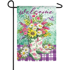 Floral Garden Boots Suede Flag