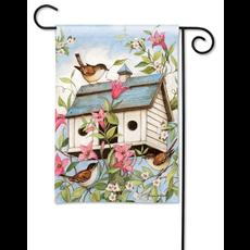 Spring Birdhouse with Clematis Garden Flag