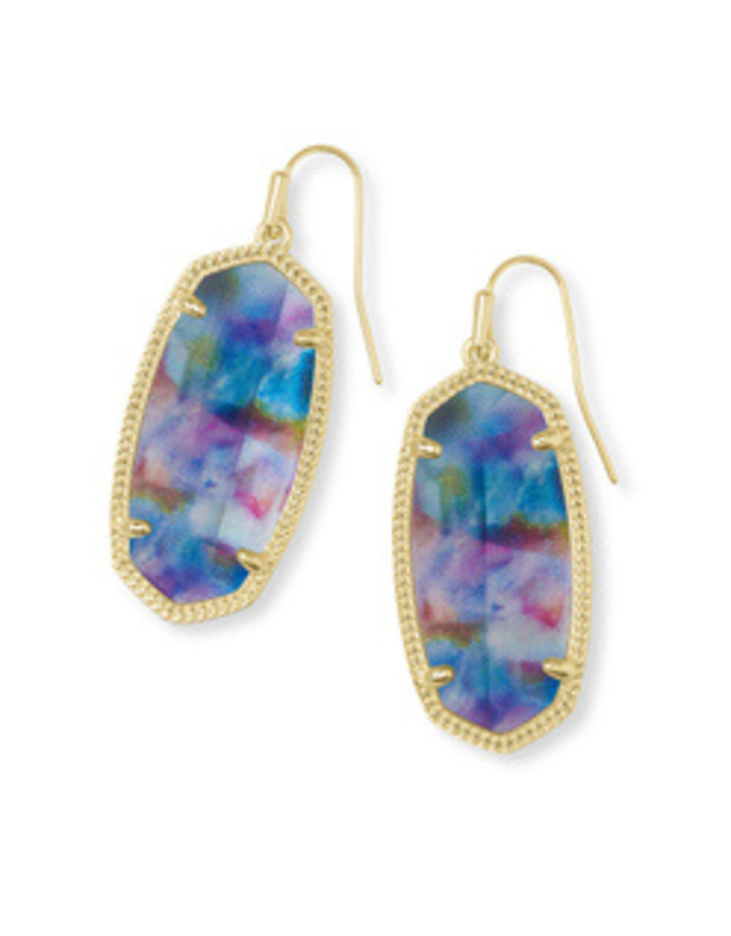 Kendra Scott Kendra Scott Elle Gold Teal Tie Dye Illusion