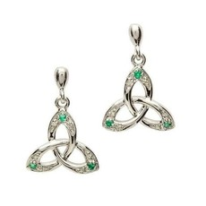 ShanOre ShanOre Celtic Trinity Knot Earring Set with Emerald and Diamond