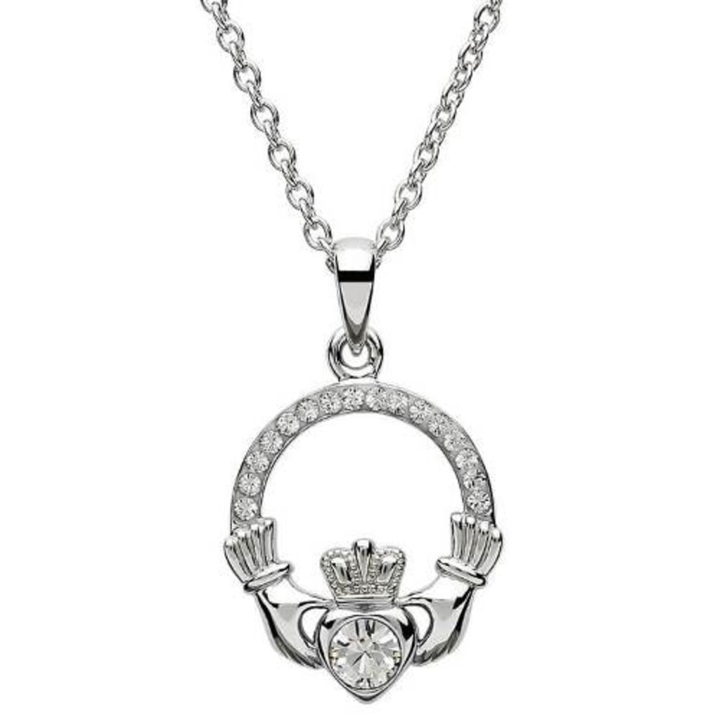 ShanOre ShanOre Claddagh Birthstone April Pendant Adorned with Swarovski Crystal
