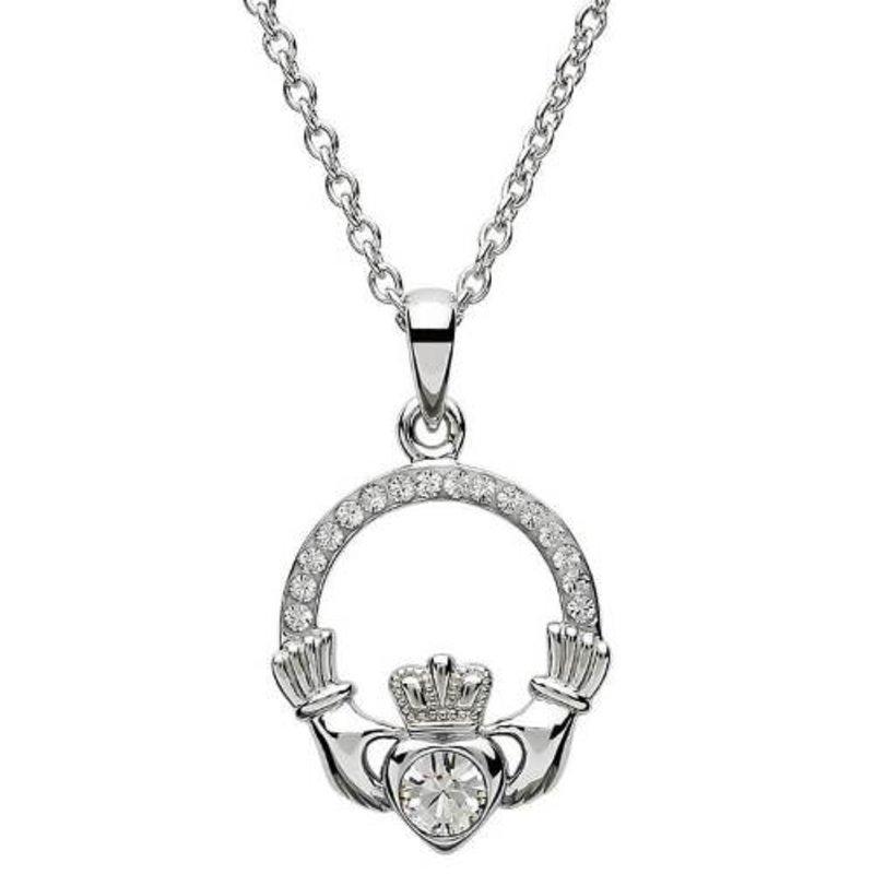 ShanOre Claddagh Birthstone April Pendant Adorned with Swarovski Crystal