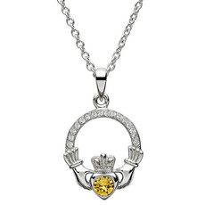 ShanOre ShanOre Claddagh Birthstone November Pendant Adorned with Swarovski Crystal