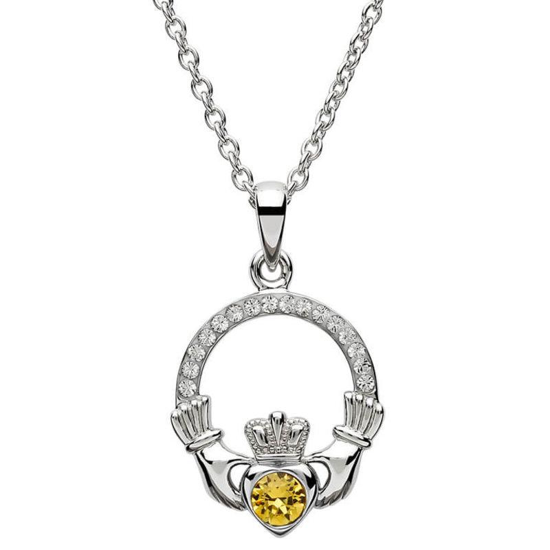 ShanOre Claddagh Birthstone November Pendant Adorned with Swarovski Crystal