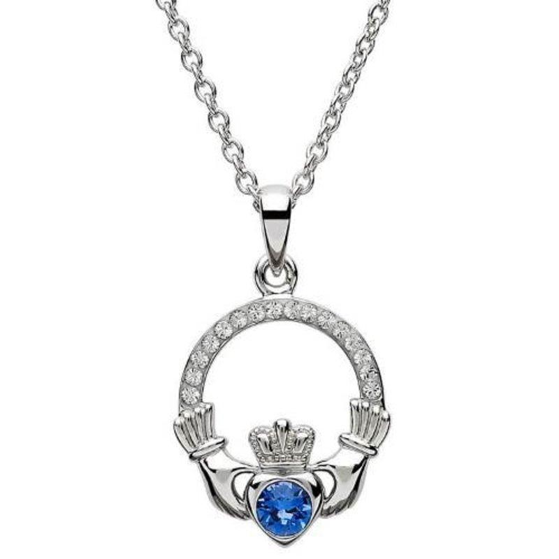 ShanOre Claddagh Birthstone September Pendant Adorned with Swarovski Crystal