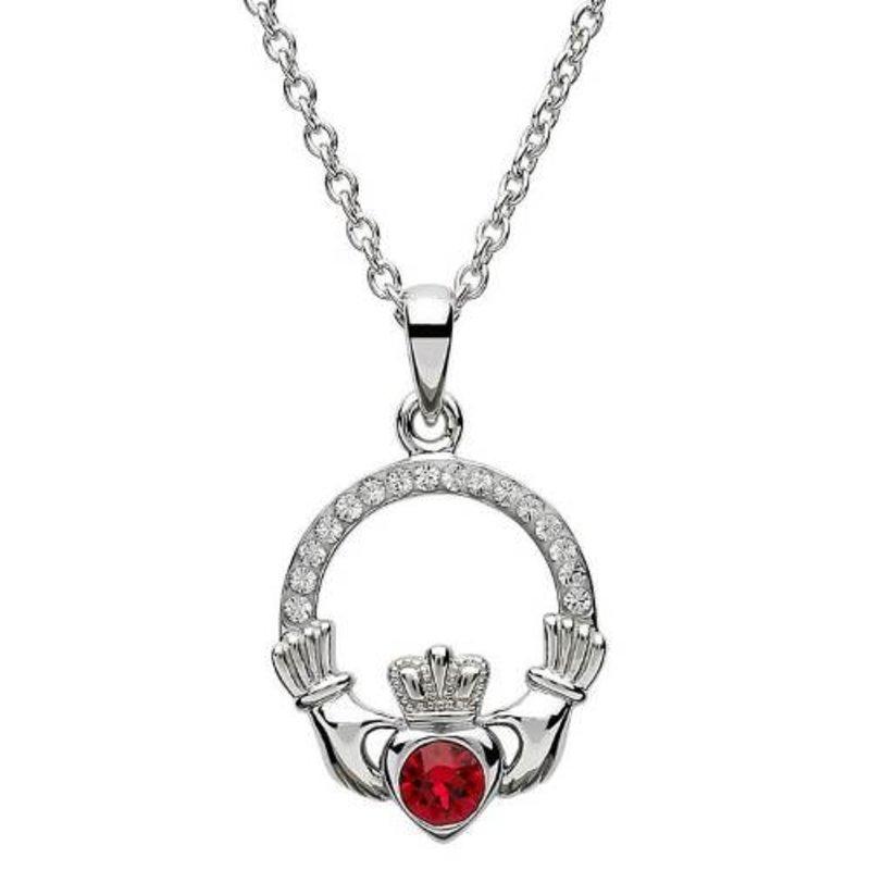 ShanOre Claddagh Birthstone July Pendant Adorned with Swarovski Crystal