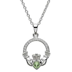 ShanOre ShanOre Claddagh Birthstone August Pendant Adorned with Swarovski Crystal
