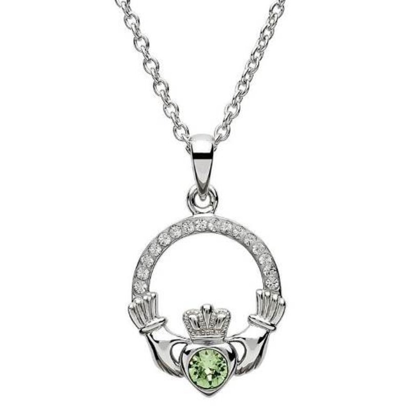 ShanOre Claddagh Birthstone August Pendant Adorned with Swarovski Crystal