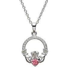 ShanOre ShanOre Claddagh Birthstone October Pendant Adorned with Swarovski Crystal