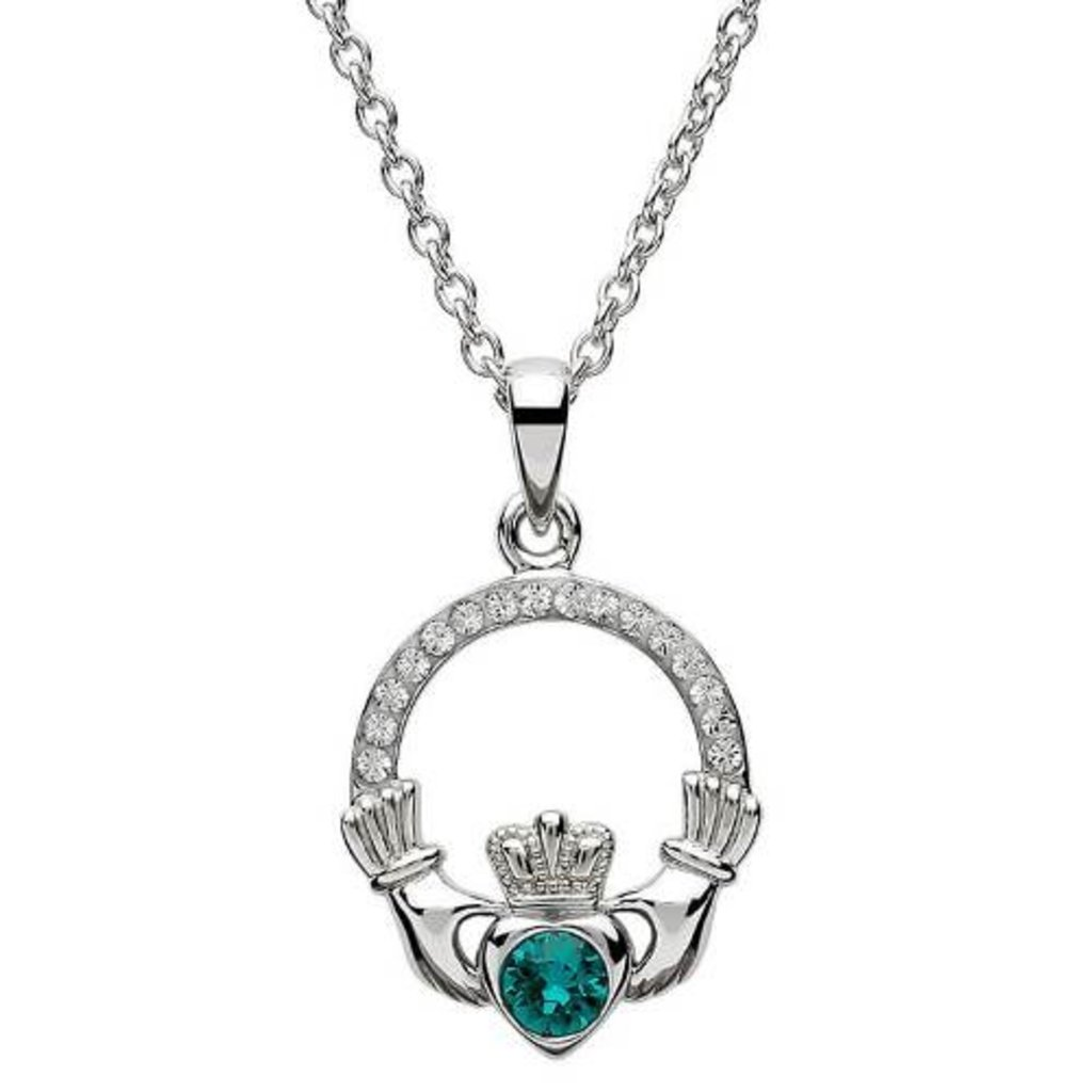 ShanOre ShanOre Claddagh Birthstone May Pendant Adorned with Swarovski Crystal