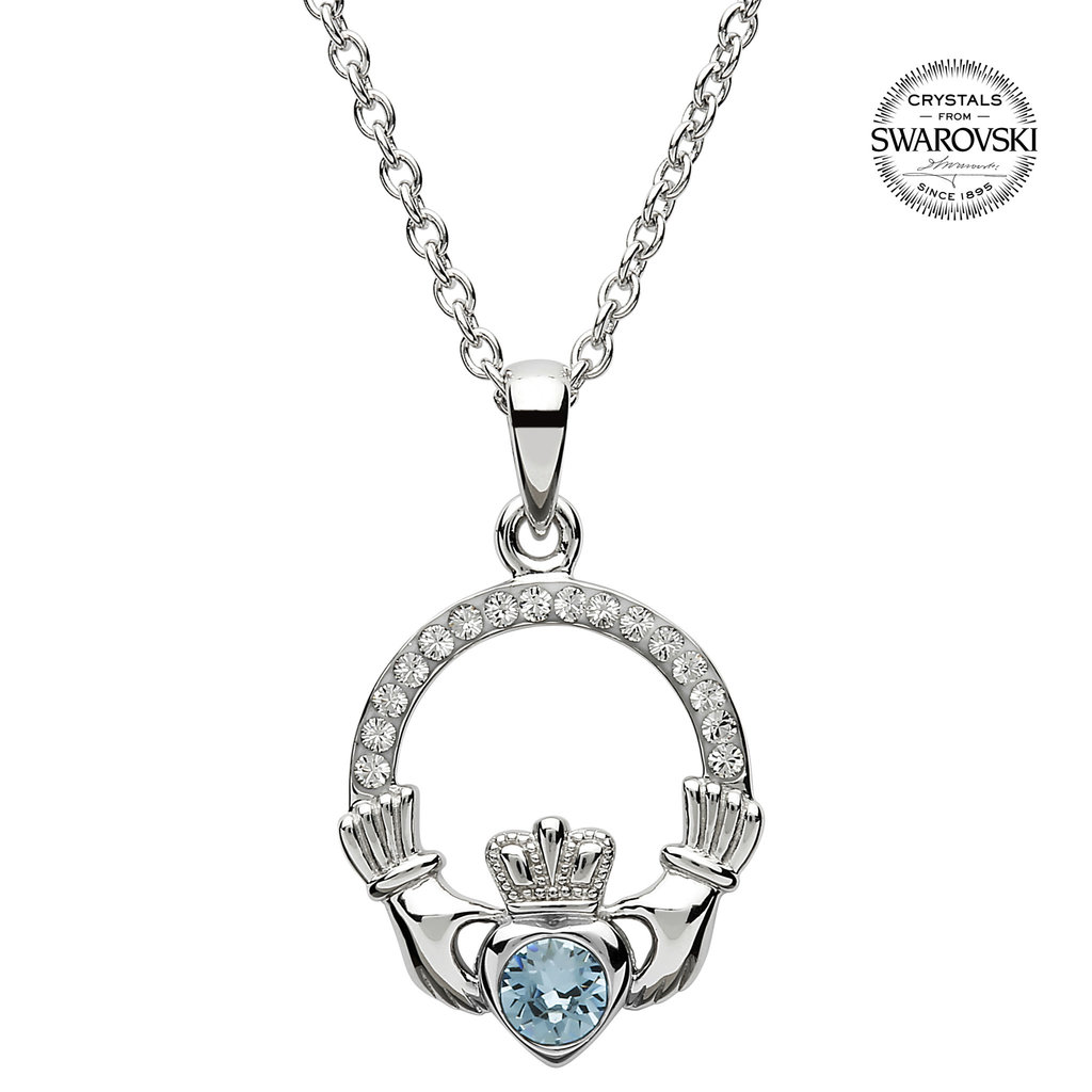 ShanOre ShanOre Claddagh Birthstone March Pendant Adorned with Swarovski Crystal